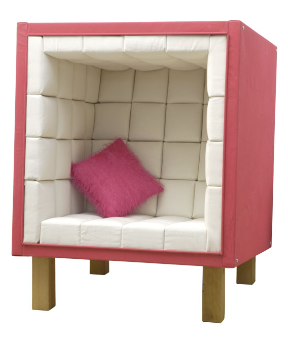 chair shaped like a cube which you sit inside for peace
